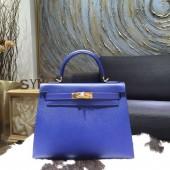Hermes Kelly 28cm Epsom Calfskin Sellier Rigide Bag Handstitched Palladium Hardware, Blue Electric 7T RS09333
