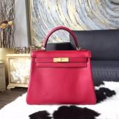 Hermes Kelly 28cm Swift Calfskin Bag Gold Hardware Handstitched, Ruby B5 RS12710