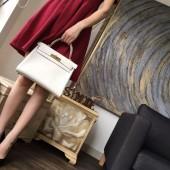 Hermes Kelly 28cm Swift Calfskin Bag Handstitched Palladium Hardware, Craie CC10 RS14365