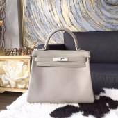 Hermes Kelly 28cm Swift Calfskin Bag Palladium Hardware Handstitched, Pearl Grey CK80 RS21335