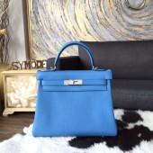 Hermes Kelly 28cm Taurillon Clemence Calfskin Bag Handstitched Palladium Hardware, Blue Paradise 2T RS06618
