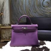 Hermes Kelly 28cm Taurillon Clemence Calfskin Bag Handstitched Palladium Hardware, Ultraviolet 5L RS03250