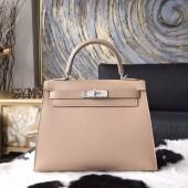 Hermes Kelly 28cm Tedelakt Box Calfskin Bag Palladium Hardware Handstitched, Argile 1F RS18325