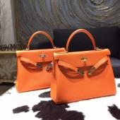 Hermes Kelly 28cm Togo Calfskin Bag Handstitched Gold/Palladium Hardware, Orange CC93 RS16215