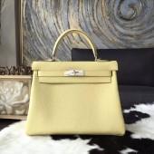 Hermes Kelly 28cm Togo Calfskin Bag Handstitched Palladium Hardware, Jaune Poussin 1Z RS07903