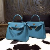 Hermes Kelly 28cm Togo Calfskin Original Leather Bag Handstitched, Blue Turquoise 7B RS03708
