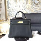 Hermes Kelly 28cm Togo Calfskin Original Leather Bag Handstitched Gold Hardware, Noir RS15809