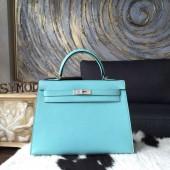 Hermes Kelly 32cm Bag Sellier Rigide Epsom Calfskin Palladium Hardware Handstitched, Blue Atoll 3P RS07222