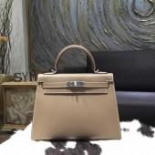 Hermes Kelly 32cm Sellier Rigide Bag Epsom Calfskin Handstitched Palladium Hardware Handstitched, Etoupe CK18 RS05644