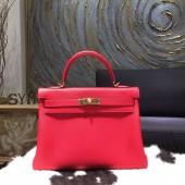 Hermes Kelly 32cm Taurillon Clemence Calfskin Original Leather Bag Handstitched Gold Hardware, Rouge Casaque CKQ5 RS13590