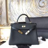 Hermes Kelly 32cm Togo Calfskin Original Leather Bag Handstitched Gold Hardware, Noir RS20635