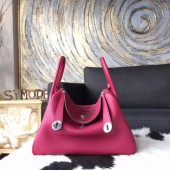 Hermes Lindy 26cm/30cm Taurillon Clemence Bag Hand Stitched Palladium Hardware, Ruby CKB5 RS01931
