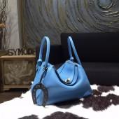 Hermes Lindy 26cm/30cm Taurillon Clemence Calfskin Bag Handstitched, Blue Paradise 2T RS12724