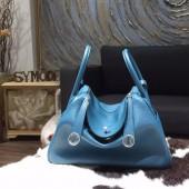 Hermes Lindy 26cm/30cm Taurillon Clemence Calfskin Bag Handstitched, Cobalt 7C RS13547