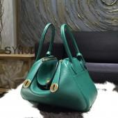 Hermes Lindy 26cm/30cm Taurillon Clemence Calfskin Bag Handstitched, Malachite Z6 RS13051