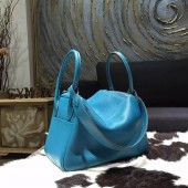 Hermes Lindy 26cm Taurillon Clemence Calfskin Bag Handstitched, Blue Izmir 7W RS11764