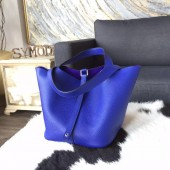 Hermes Picotin Lock Bag 18cm/22cm Taurillon Clemence Palladium Hardware Hand Stitched, Blue Electric 7T RS05215
