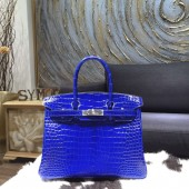 Hermes Shiny Alligator Crocodile Birkin 30cm Palladium Hardware Handstitched, Electric Blue 7T RS04484