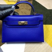 High Imitation Hermes Kelly Mini II In Original leather 20cm Golden Hardware Wine Bule Bag RS26232