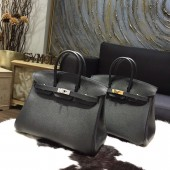 Imitation Hermes Birkin 25cm Epsom Calfskin Bag Handstitched Gold/Palladium Hardware, Noir CK89 RS13143