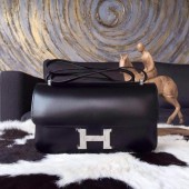 Imitation Hermes Constance Elan 23cm Box Calfskin Handstitched Palladium Hardware, Black RS20342