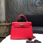 Imitation Hermes Kelly 28cm Epsom Calfskin Bag Handstitched Gold Hardware, Rouge Casaque Q5 RS02519