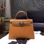 Imitation Hermes Kelly 28cm Epsom Calfskin Sellier Rigide Bag Handstitched Palladium Hardware, Gold CK37 RS05874
