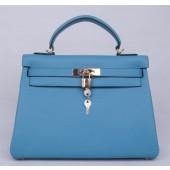 Imitation Hermes Kelly 28cm Togo Calfskin Bag Handstitched Palladium Hardware, Lagon Blue 7V RS10773