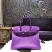 Luxury Hermes Birkin 30cm Epsom Calfskin Bag Handstitched Palladium Hardware, Crocus 9W RS03851