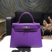 Luxury Hermes Kelly 28cm Epsom Calfskin Sellier Rigide Bag Handstitched Palladium Hardware, Crocus 9W RS05071