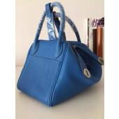 Quality Hermes Bi-Color Lindy 30cm Taurillon Clemence Calfskin Bag Handstitched, Blue Saphir CK73/Blue Izmir 7W RS05946