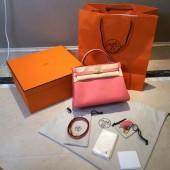 Replica AAA Hermes Kelly 32cm Togo Calfskin Original Leather Bag Handstitched Gold Hardware, Rose Lipstick RS11511