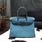 Replica Hermes Autruche Ostrich Birkin 30cm Bag Handstitched Palladium Hardware, Cobalt 7C RS03882