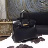 Replica Hermes Birkin 30cm Box Calfskin Bag Handstitched Gold Hardware, Black Noir RS02394