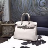 Replica Hermes Birkin 30cm Swift Calfskin Bag Original Leather Hand Stitched, Pearl Grey CK80 RS12204