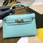 High Imitation Hermes Kelly Mini II In Original leather 20cm Silver Hardware Blue Bag RS26229
