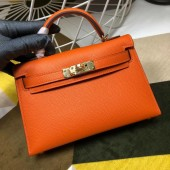 High Imitation Hermes Kelly Mini II In Original leather 20cm Golden Hardware Orange Bag RS26226