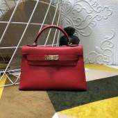 High Imitation Hermes Kelly Mini II In Original leather 20cm Golden Red Hardware Bag RS26228