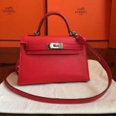Replica Hermes Kelly Mini II Bag In Original leather 20cm Silver Hardware Red Bag RS26219