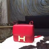 Replica High Quality Hermes Constance 18cm Epsom Calfskin Original Leather Handstitched Gold Hardware, Rouge Casaque Q5 RS07166