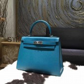 Replica Hot Hermes Kelly 28cm Epsom Calfskin Original Leather Bag Handstitched Palladium Hardware, Blue Izmir 7W RS00938