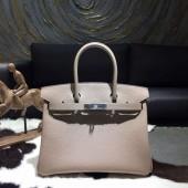 Replica Luxury Hermes Birkin 30cm Taurillon Clemence Calfskin Bag Hand Stitched Palladium Hardware, Gris Tourterelle CK81 RS14063