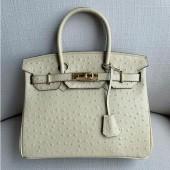 Top Hermes Autruche Ostrich Birkin 30cm Bag Handstitched Palladium Hardware, Parchemin 3C RS07206